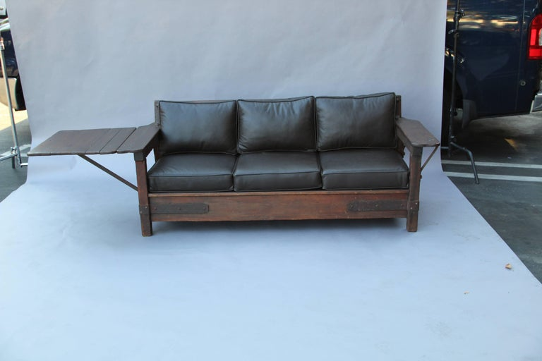 Signed Monterey Rancho Sofa with Drop Arm with Old Wood Finish 4
