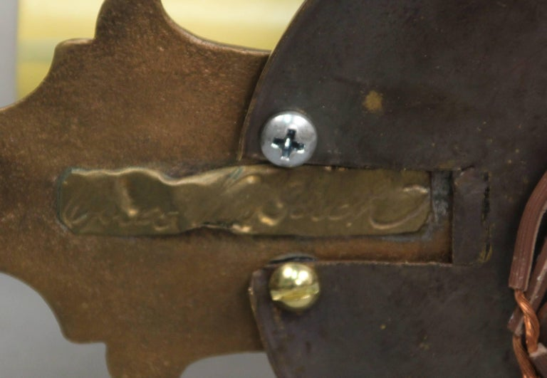 American Antique Pair of Signed Oscar Bach Bronze Single Light Sconces, circa 1920s For Sale