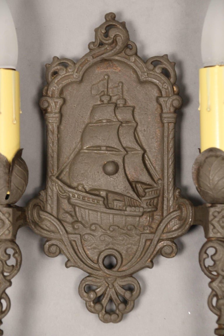 Spanish Colonial 1 of 3 Antique Double Sconce With Galleon Motif For Sale