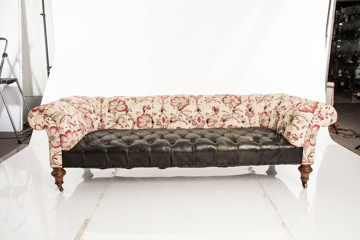 Leather And Fabric Chesterfield Sofa For Sale At 1stdibs