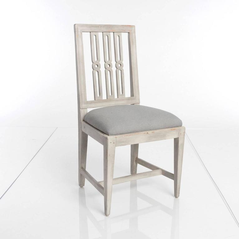 Painted Set of 12 Gustavian Dining Chairs For Sale