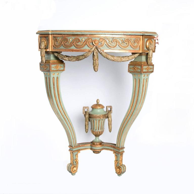 Corner Console Table 18th century painted and gilded gustavian corner console table for