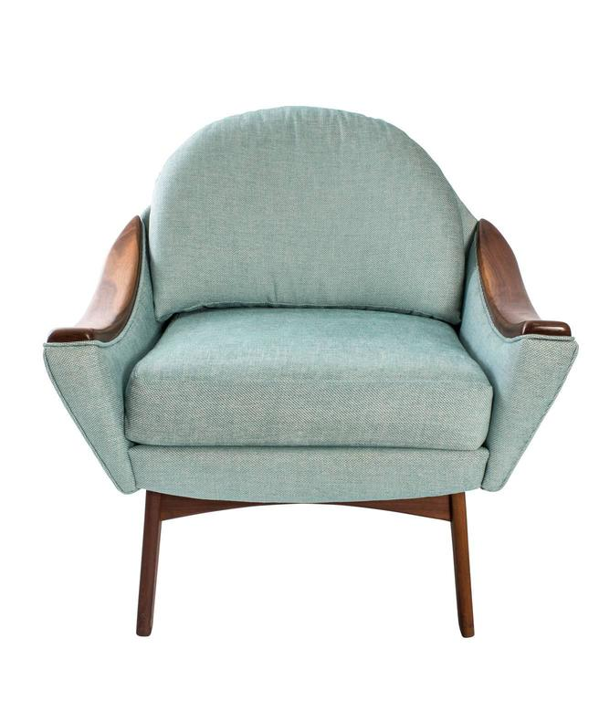 """Adrian Pearsall for Craft Association pair of """"his and hers"""" lounge chairs. Upholstered in Churchill fabric."""