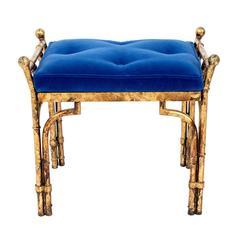 Blue Velvet Bench