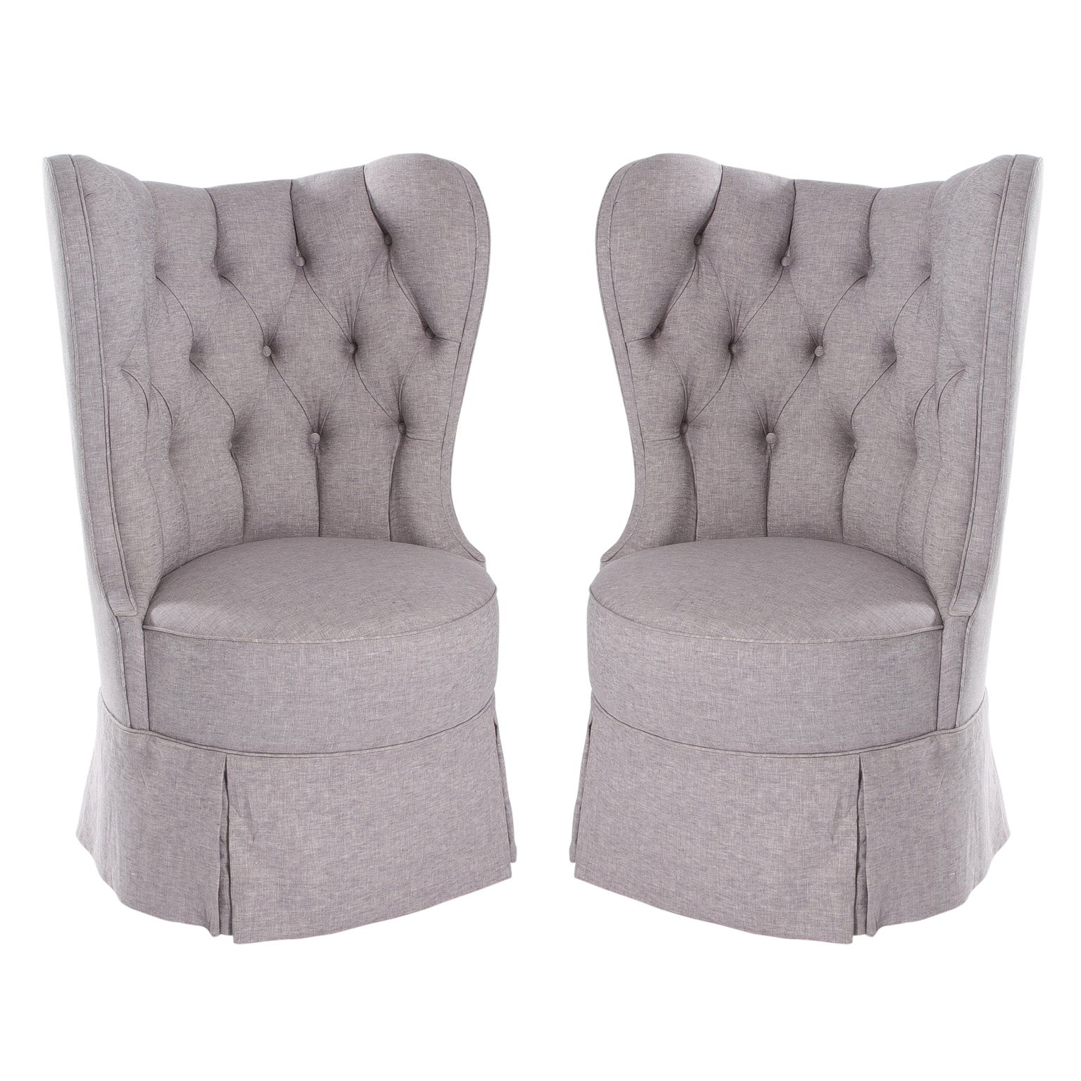 Pair of Large Barrel Back Wing Chairs