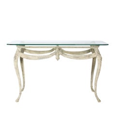 Louis XV Metal Console with Glass Top