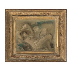 """19th Century """"Bathing Nude"""" Oil Painting"""