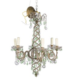Green and White Six Light Crystal Chandelier