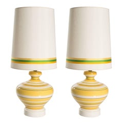 Pair of Ceramic Yellow and White Table Lamps