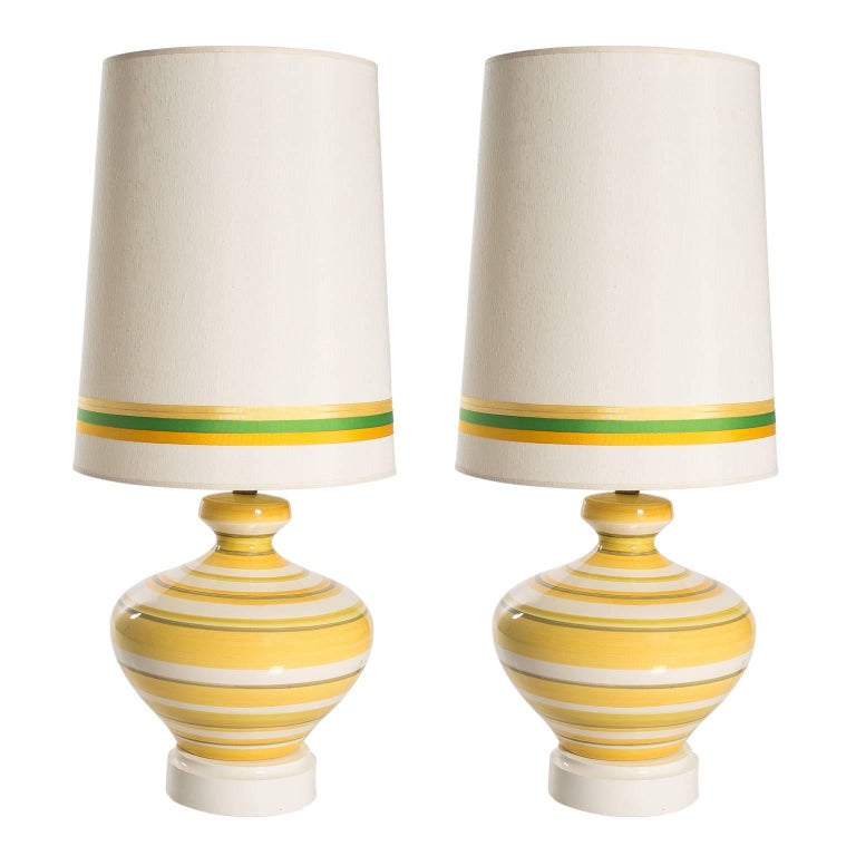 Pair of Ceramic Yellow and White Table Lamps For Sale