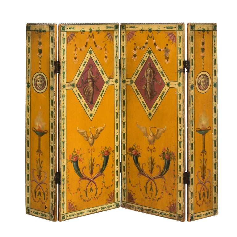 1900s, French Painted Screen