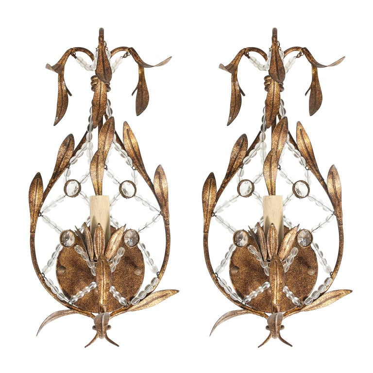 Pair of Beaded Sconces For Sale