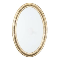 Oval Mirror with Silver and Gold Gilt