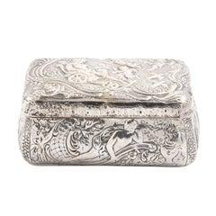 Sterling Silver Repoussé Trinket Box, circa 1900