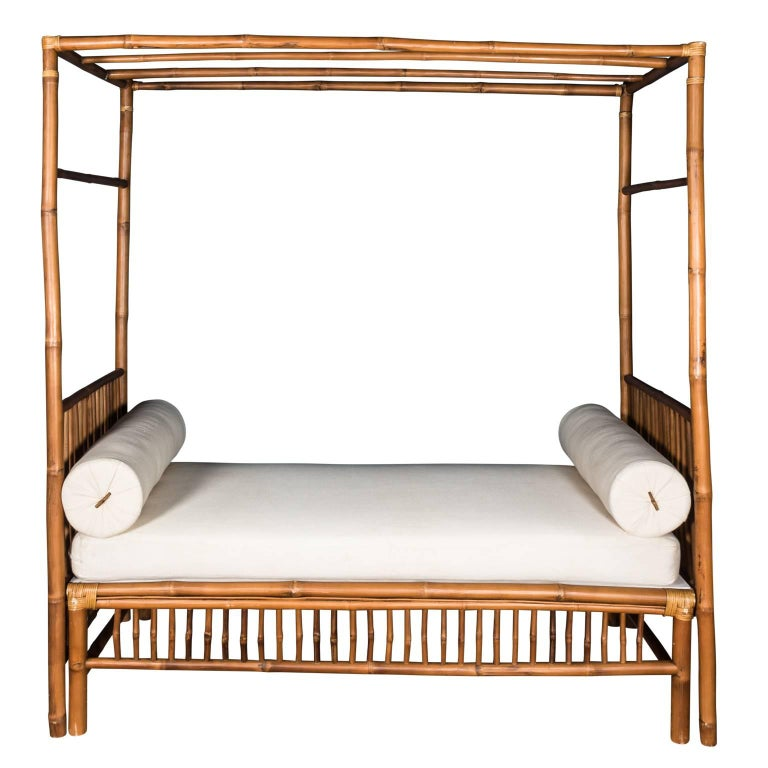 Rattan Faux Bamboo Canopy Bed For Sale