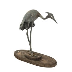 Bronze Crane Figure, circa 1800