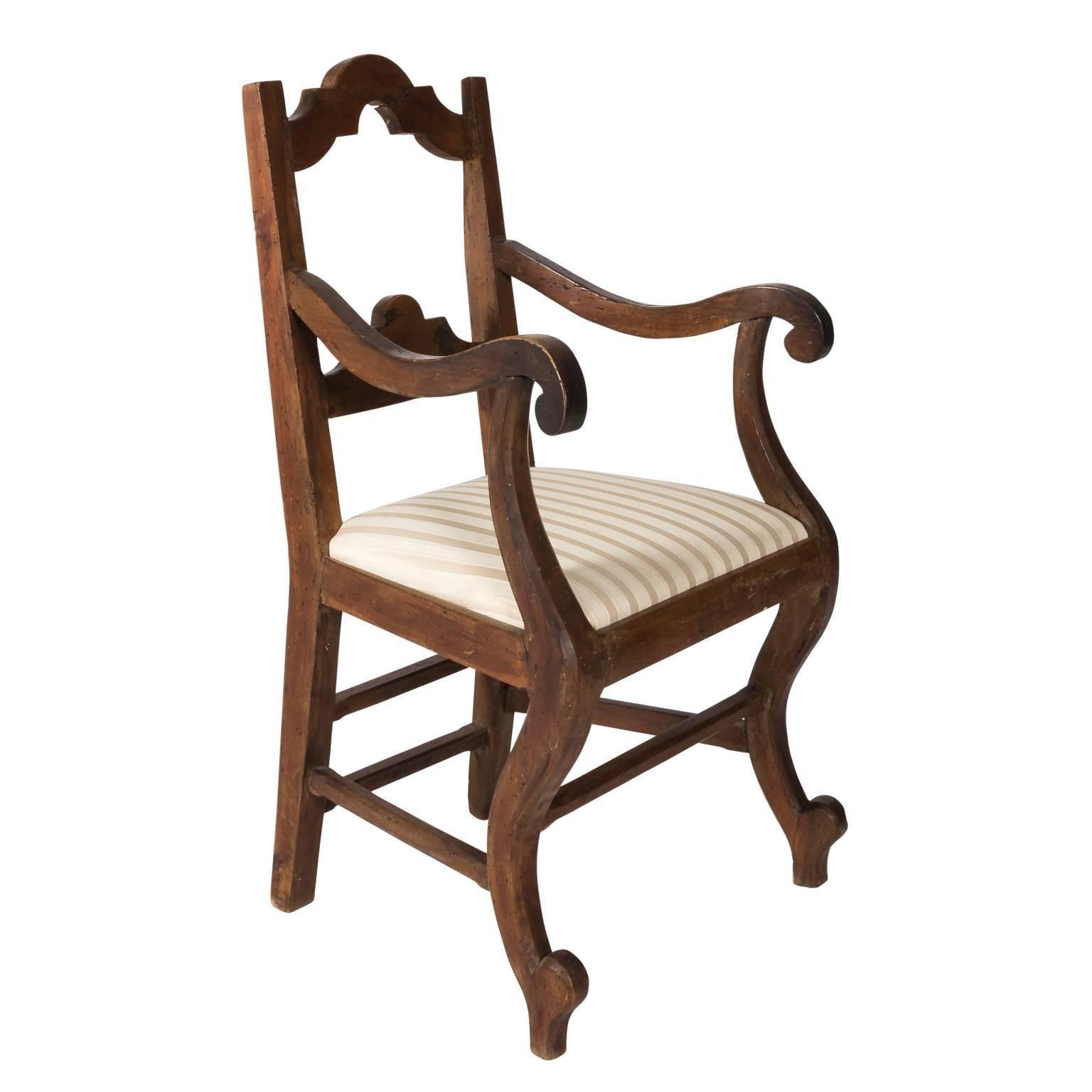 19th Century, Italian Walnut Armchair