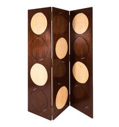 Three Panel Wood Room Screen