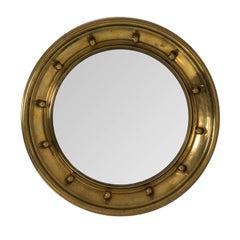 1930s Brass Bulls Eye Hand-Hammered Mirror