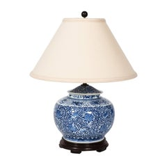 Table Lamp Made from 1820s Chinese Blue and White Ginger Jar