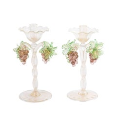 Pair of Murano Grape Design Candlesticks Barovier E'Toso Design