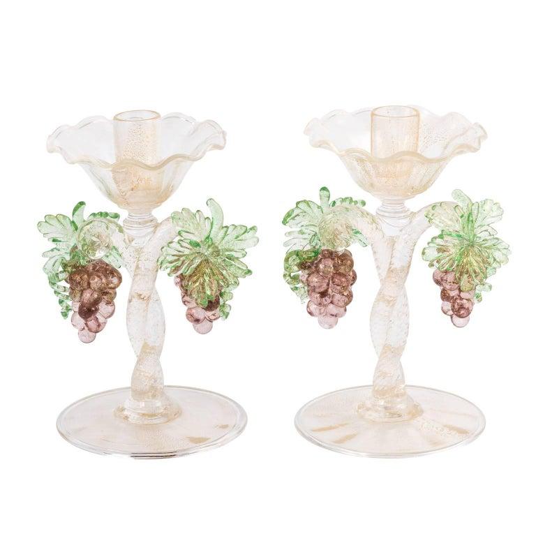 Pair of Murano Grape Design Candlesticks Barovier E'Toso Design