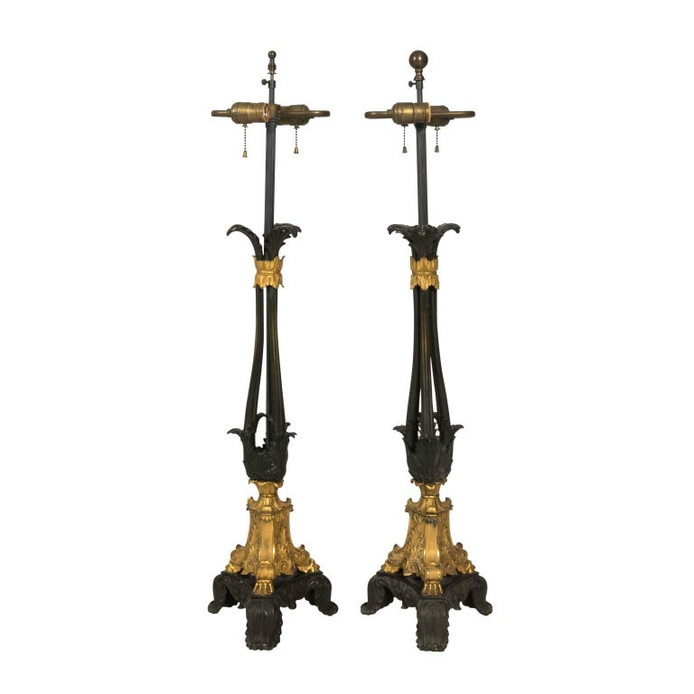 Pair of French Bronze and Gilt Lamps