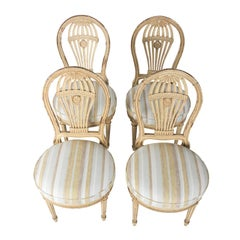 Set of Four French Balloon Back Side Chairs