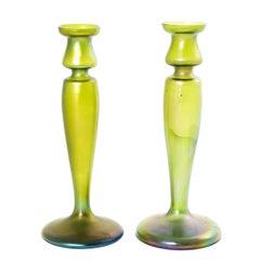 Art Nouveau Bohemian 1900 Silberiris Green Iridescent Candleholders