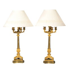 19th Century French Empire Ormolu Bronze Candelabra Lamps