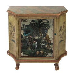 Painted Chinoiserie Mirror Front Cabinet