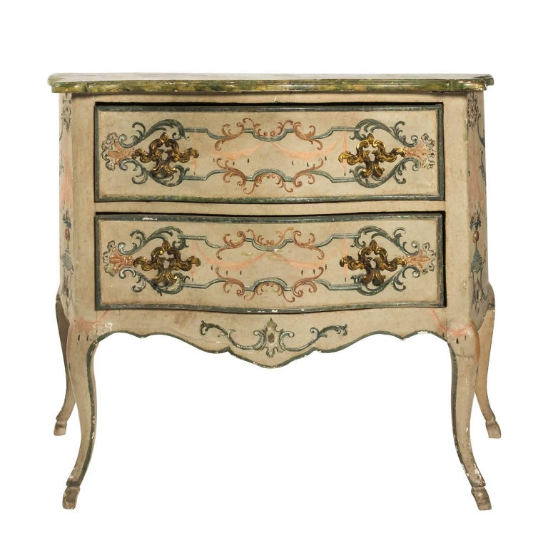 Painted Rococo Style Chest of Drawers For Sale