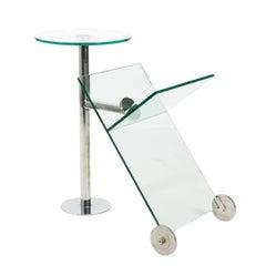 Contemporary Glass and Chrome Magazine Stand