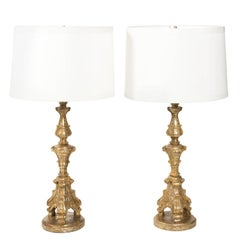 Pair of Gilded Candlestick Lamps