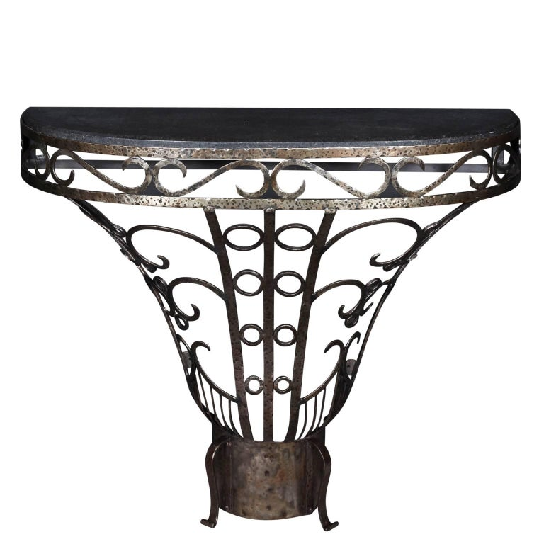 Art Deco Wrought Iron Demilune with Marble Top