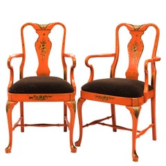 Pair of Queen Anne Style Red Armchairs