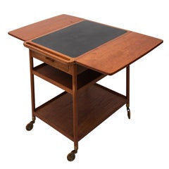 1960s Midcentury Danish Teak Drop-Leaf Trolly Table