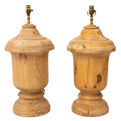 Pair of Pine Urn Form Lamps