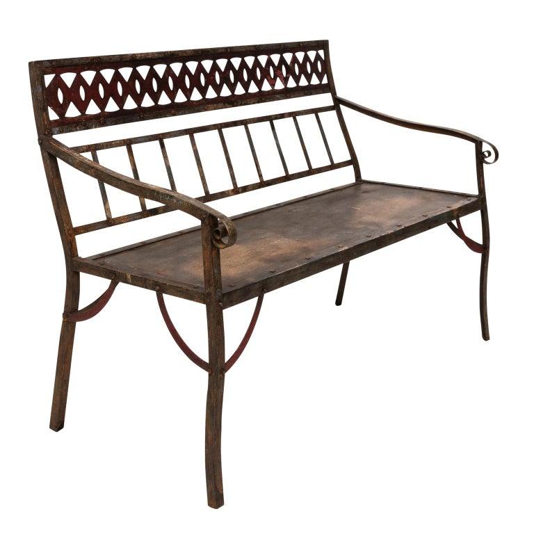 Wrought Iron Slat Garden Bench At 1stdibs