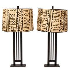 Pair of Tall Iron Column Lamps