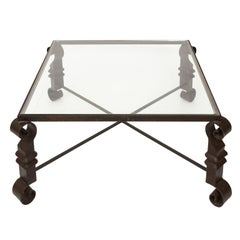 Cast Iron and Glass Low Table in the Manner of Gilbert Poillerat