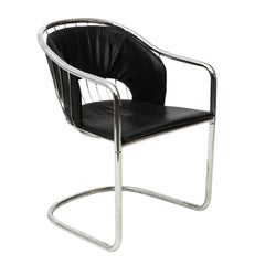 Chrome and Black Leather Armchair by Cidue