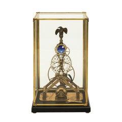 Mid 20th Century Skeleton Brass Clock