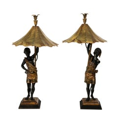 Pair of 19th Century Blackamoor Lamps with Custom Shades
