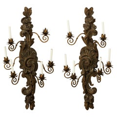 Pair of 19th Century Large Carved Walnut Six-Arm Sconces