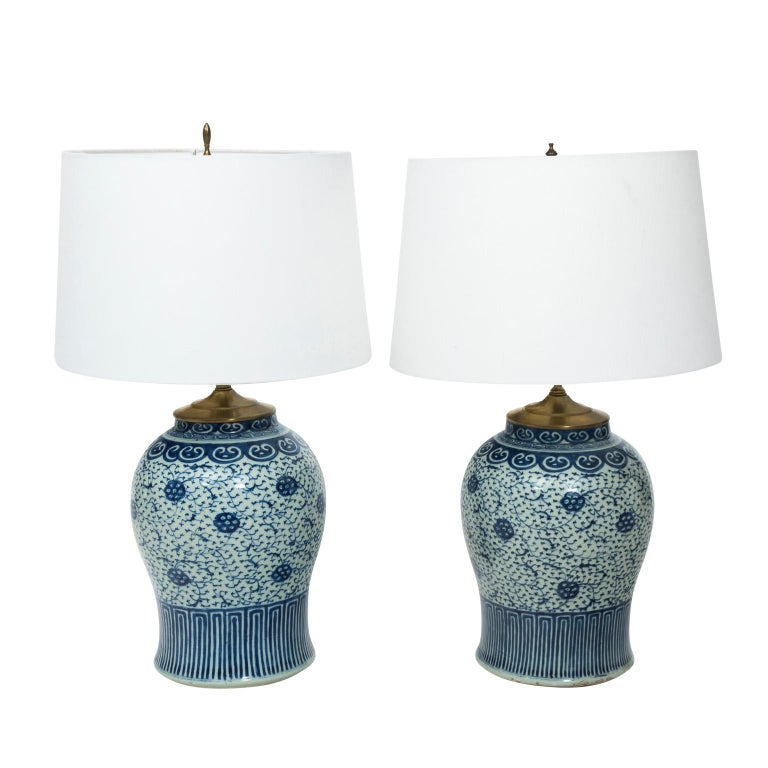 Pair of Blue and White Chinese Jar Lamps