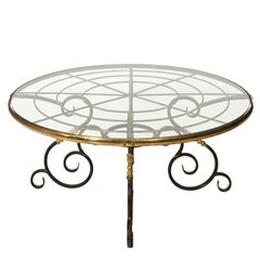 French Brass and Iron Center Table, circa 1970s