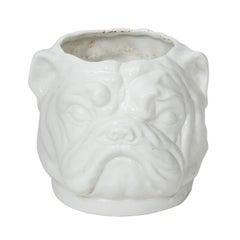 White Painted Dog Planter