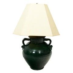 Large Green Pottery Lamp, circa 1900