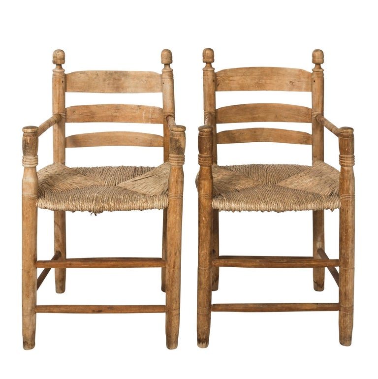 Pair of French Rush Seat Armchairs